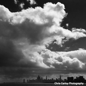 Downtown from Montrose Harbor BW
