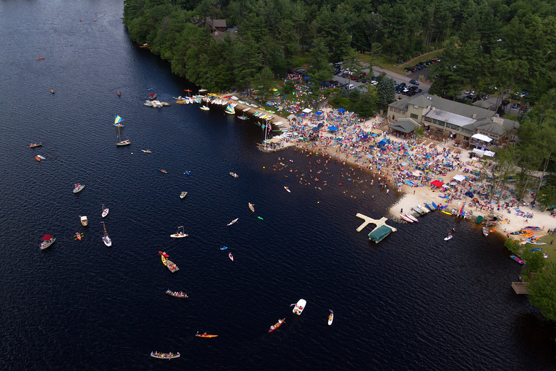 Aerial view of Club Beach on the Fourth of July.