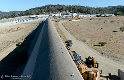 The Emergency spillway is seen during a tour of ongoing construction at the Lake Oroville Dam Spillway area Wednesday, July 11, 2018.  (Bill Husa -- Enterprise-Record)