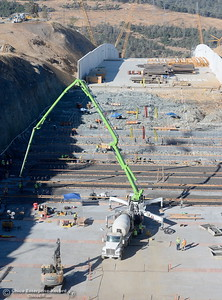 Work on the upper chute of the spillway is seen during a tour of ongoing construction at the Lake Oroville Dam Spillway area Wednesday, July 11, 2018.  (Bill Husa -- Enterprise-Record)