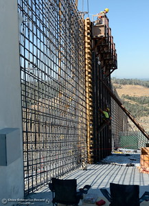 Construction workers climb the high walls of the spillway seen during a tour of ongoing construction at the Lake Oroville Dam Spillway area Wednesday, July 11, 2018.  (Bill Husa -- Enterprise-Record)