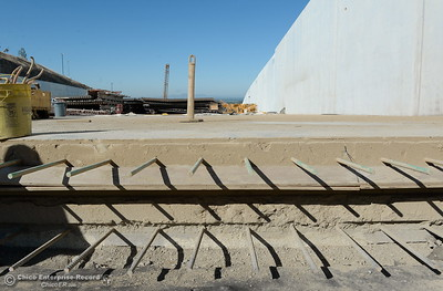 Layers of concrete and rebar are seen in a section of the spillway during a tour of ongoing construction at the Lake Oroville Dam Spillway area Wednesday, July 11, 2018.  (Bill Husa -- Enterprise-Record)