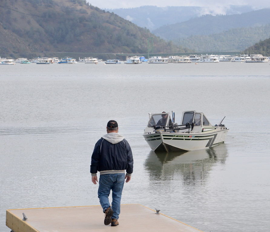 . Fishermen Pete Gonzales and Randy Bowersox of Chico head out to try their luck after launching into Lake Oroville at the Bidwell Canyon Marina Launch ramp Feb. 10, 2017. (Bill Husa -- Enterprise-Record)