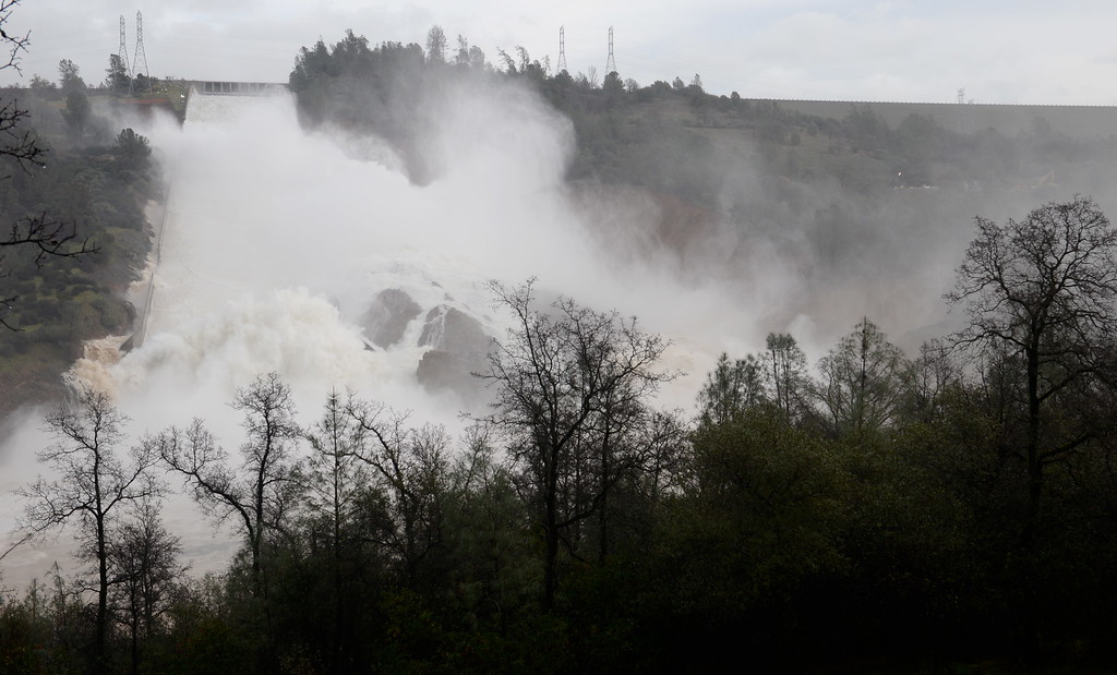 . Approx. 65,000 cfs flows down the damaged Lake Oroville Dam Spillway Friday Feb. 10, 2017. (Bill Husa -- Enterprise-Record)