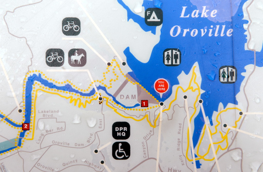 . A section of a map posted near the Lake Oroville Dam shows where the Spillway is located Friday Feb. 10, 2017. (Bill Husa -- Enterprise-Record)