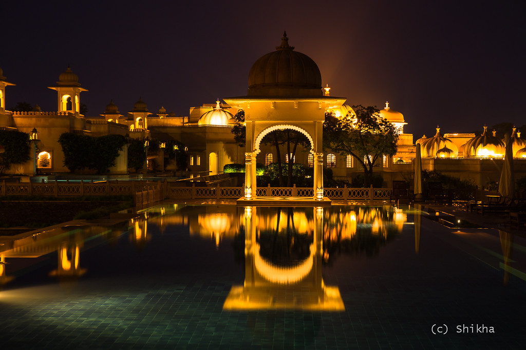 Oberoi Udaivilas at night - The rain stopped momentarily. Calm water allowed for beautiful reflections<br /> <br /> Exposed for 13 secs @50 mm ISO 100, Aperture f/7.1