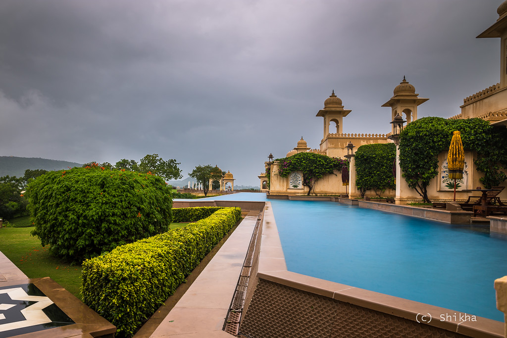 Oberoi Udaivilas - Thunderstorm and rain followed by filtered sunlight. Perfect time to shoot ! This isn't meant to be a promotional post for the hotel but the property is one of the highlights of Lake Pichola and it would have been unfair to not share this image.<br /> <br /> Exposed for 2.5 secs @24 mm ISO 50, Aperture f/8.0. Used Hoya NDx64 to allow for higher exposure time. When nature dynamics are at play, high shutter speed is undesirable.