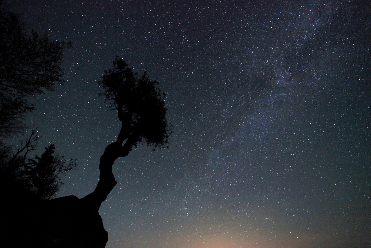 "SPIRIT TREE 1770  ""Spirits in the sky""  30 second exposure of the night sky at 1:18 a.m. on May 31, 2009.  Shot at a high ISO (3200) on the Canon 5D Mark II, to make the Milky Way visible and to bring out more definition in the stars.  The glow along the bottom of the image is from the city lights of Thunder Bay, Ontario, which is about 40 miles away."