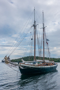 "SUPERIOR BOATS 01899  The sailing vessel ""Mist of Avalon"" visiting Grand Portage Bay for Rendezvous Days 2016.  Grand Portage, MN"