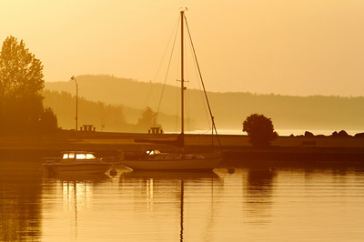"SUPERIOR BOATS 7098  ""July sunrise, Grand Marais harbor"""