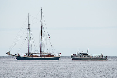 "SUPERIOR BOATS 9496  The sailing vessel ""Mist of Avalon"" visiting Grand Portage Bay for Rendezvous Days 2016.  Grand Portage, MN"