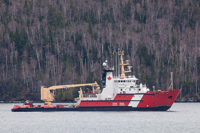 "SUPERIOR BOATS 5351  ""Samuel Risley in Cloud Bay""  The Canadian Coast Guard icebreaker and buoy tender Samuel Risley at anchor in Cloud Bay, Ontario."
