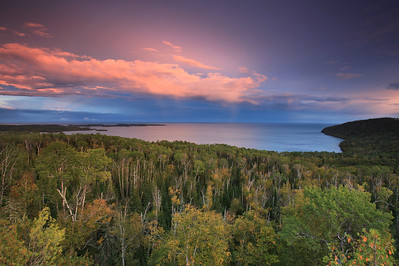 "SUPERIOR FALL 5689  ""Early autumn sunset over Wauswaugoning Bay and the Susie Islands"""