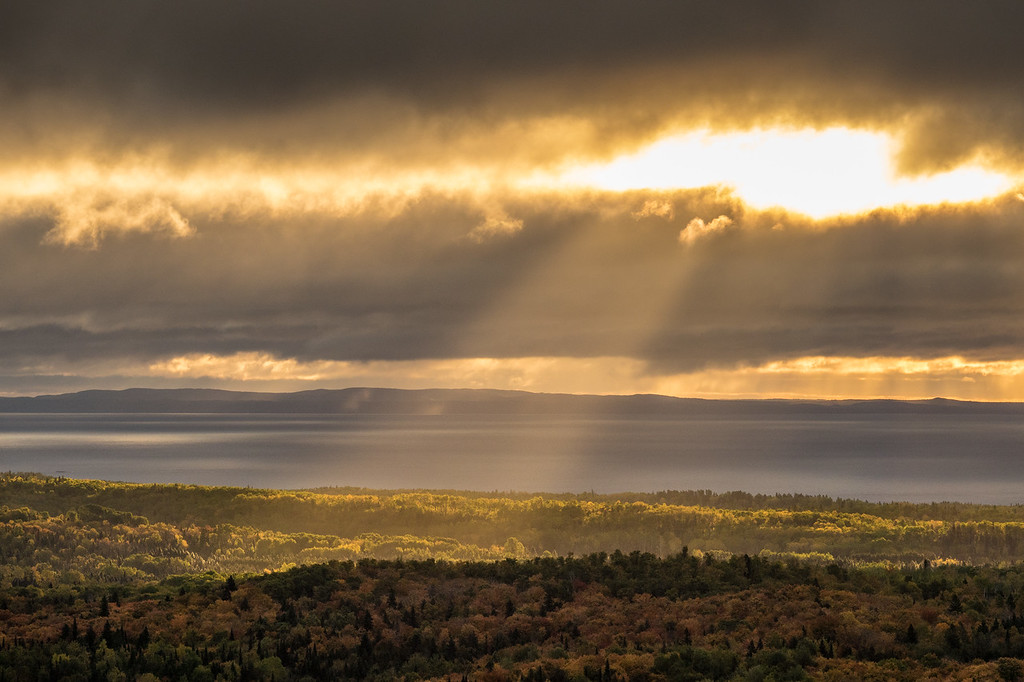 """SUPERIOR FALL 06187<br /> <br /> """"Dawn of a New Day""""<br /> <br /> September sunrise over Lake Superior and Isle Royale National Park as seen from Grand Portage, MN"""
