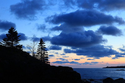 """SUPERIOR FALL 8439  """"Crescent Moon and Clouds over Lake Superior"""""""