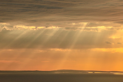 "SUPERIOR FALL 1654  ""Sun Beams over Isle Royale""  Isle Royale National Park as seen from Grand Portage, MN"