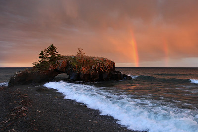 "SUPERIOR FALL 2624  ""Double Rainbow Sunset at Hollow Rock"""