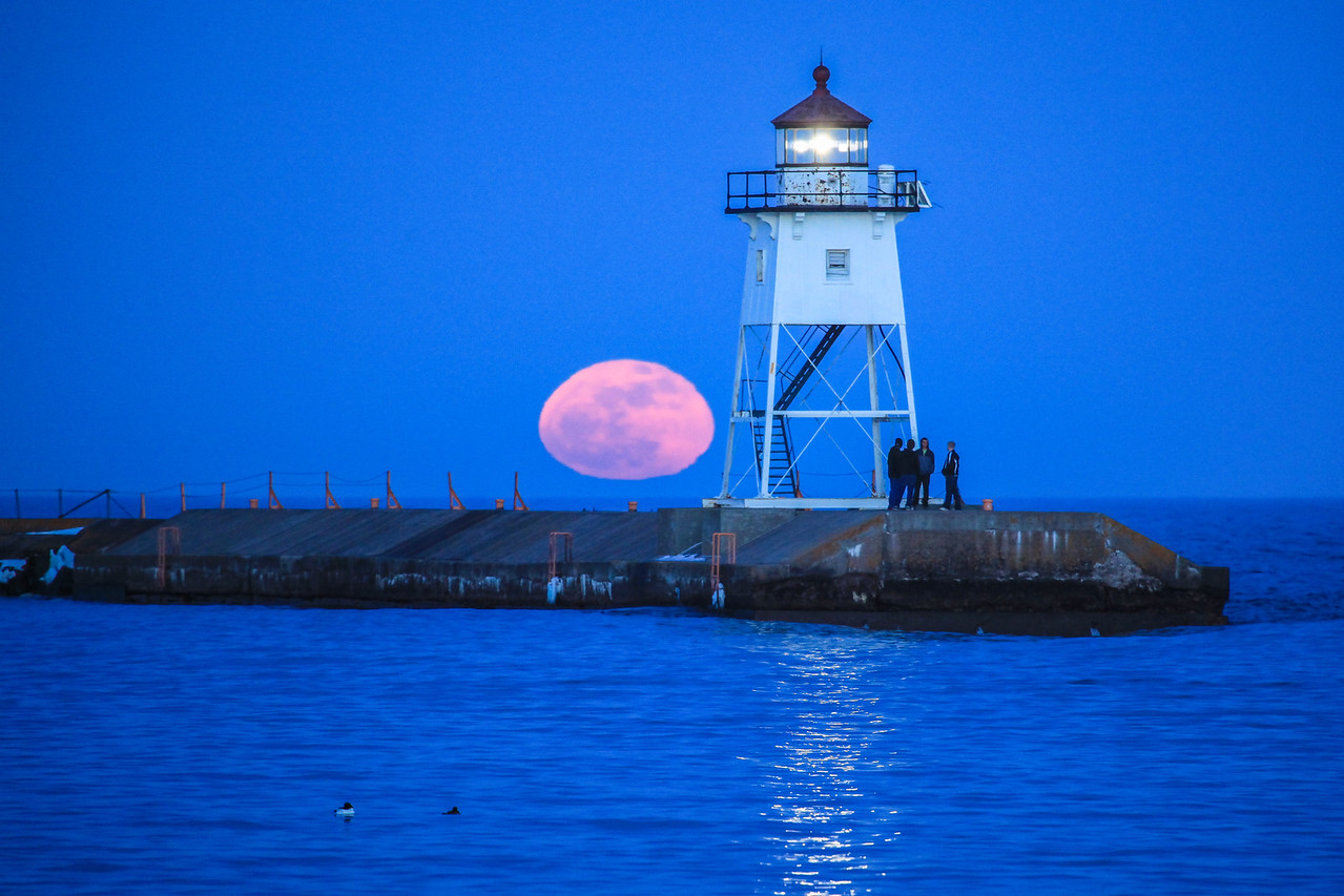 "SUPERIOR SPRING 2188<br /> <br /> ""April moonrise over the Grand Marais Lighthouse""<br /> <br /> Grand Marais, MN"