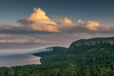 """Late July Clouds and Fog over Lake Superior"""