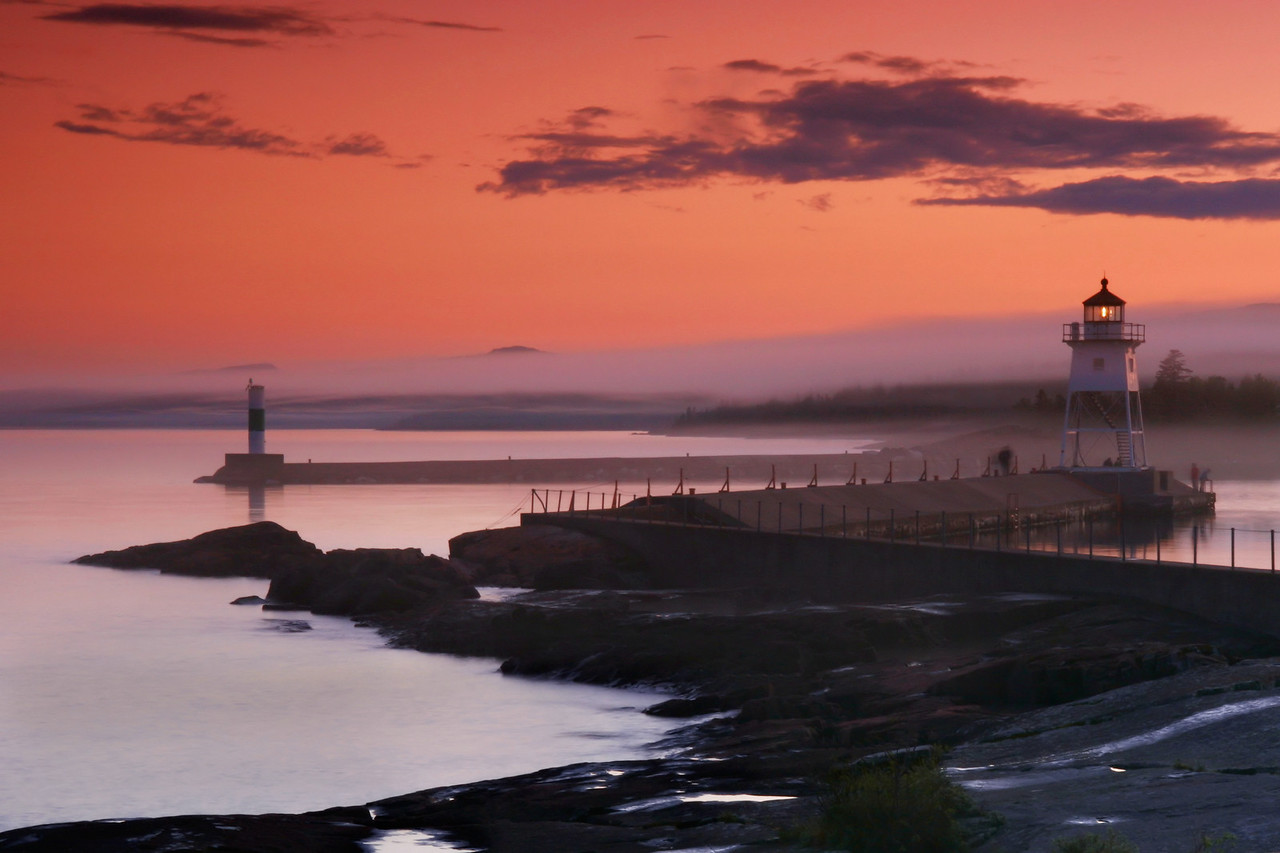 "SUPERIOR SUMMER 1622  ""Foggy evening, Grand Marais Lighthouse"""