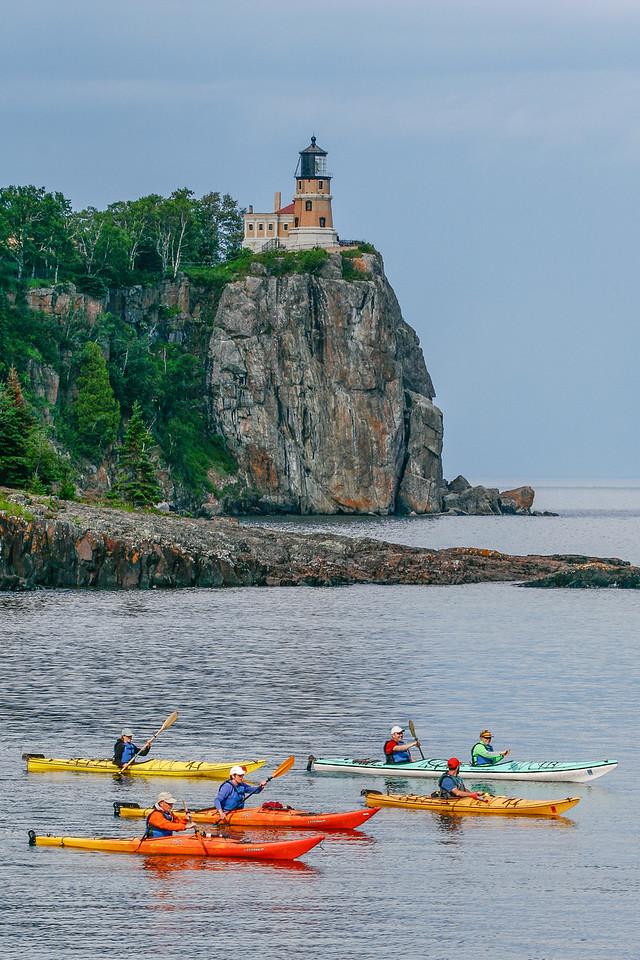 """SUPERIOR SUMMER 2902<br /> <br /> """"Kayaking Lake Superior at Split Rock Lighthouse""""<br /> <br /> Split Rock Lighthouse State Park, MN"""