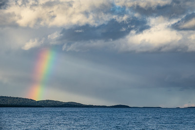 """Late Summer Rainbow over Hat Point"""
