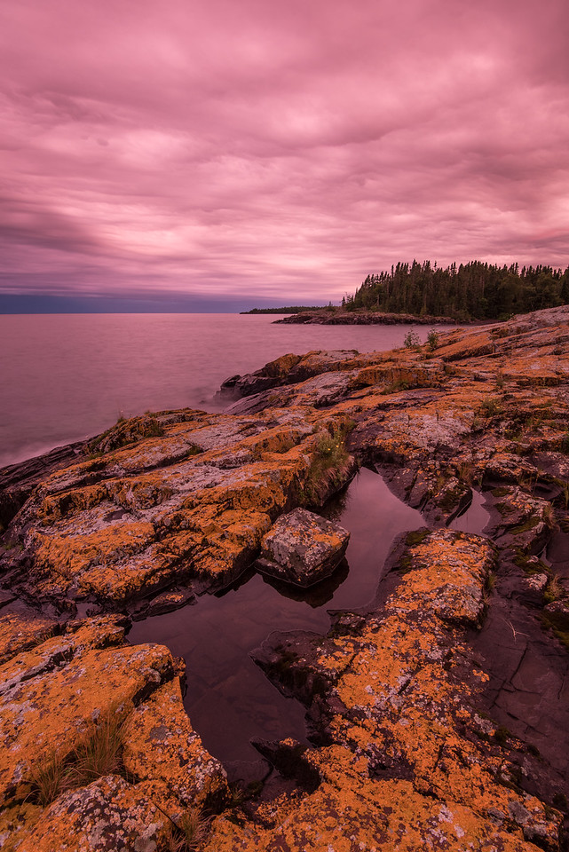 "SUPERIOR SUMMER 9312<br /> <br /> ""Surreal Sky - A Lake Superior Fantasy""<br /> <br /> Wow.... what else can I say?  The evening of August 10, 2016 had one of the most unique transitions from day to dusk that I've ever witnessed.  For the latter part of the afternoon and evening we had pretty thick cloud cover and it was basically a monotone type of day.  Everything was just gray.  As sunset approached, however, the cloud cover must have gotten thinner because all of a sudden everything got brighter and the sky took on this really strange glow with some of the most unbelievable, surreal colors that I've ever seen.  <br /> <br /> I was reluctant to post the picture you see here because I didn't think anyone would believe that it's real.  But, it is what my camera saw.  There is no photoshop trickery involved here, this is what the sky looked like.  There were also no filters at all used in the creation of this image, and it was shot on auto white balance which, if anything, usually produces images with a cooler color tone.  I literally do not remember ever seeing sky color quite like this before.  It sure made for a dramatic end to the day!"