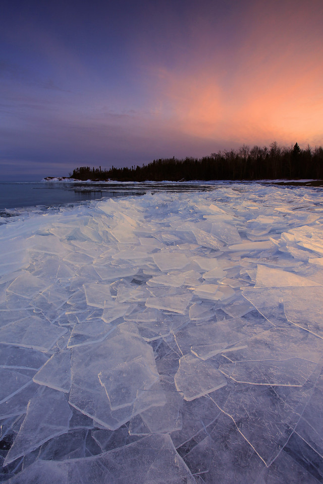 "SUPERIOR WINTER 5785  ""Sheet ice at sunset, Red Rock Beach"""