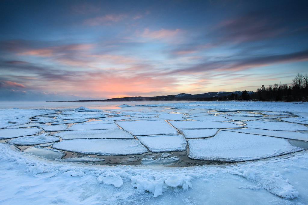 "SUPERIOR WINTER 0224<br /> <br /> ""Pancake Cove Sunset""<br /> <br /> Pancake ice on Grand Portage Bay - January 21, 2013"