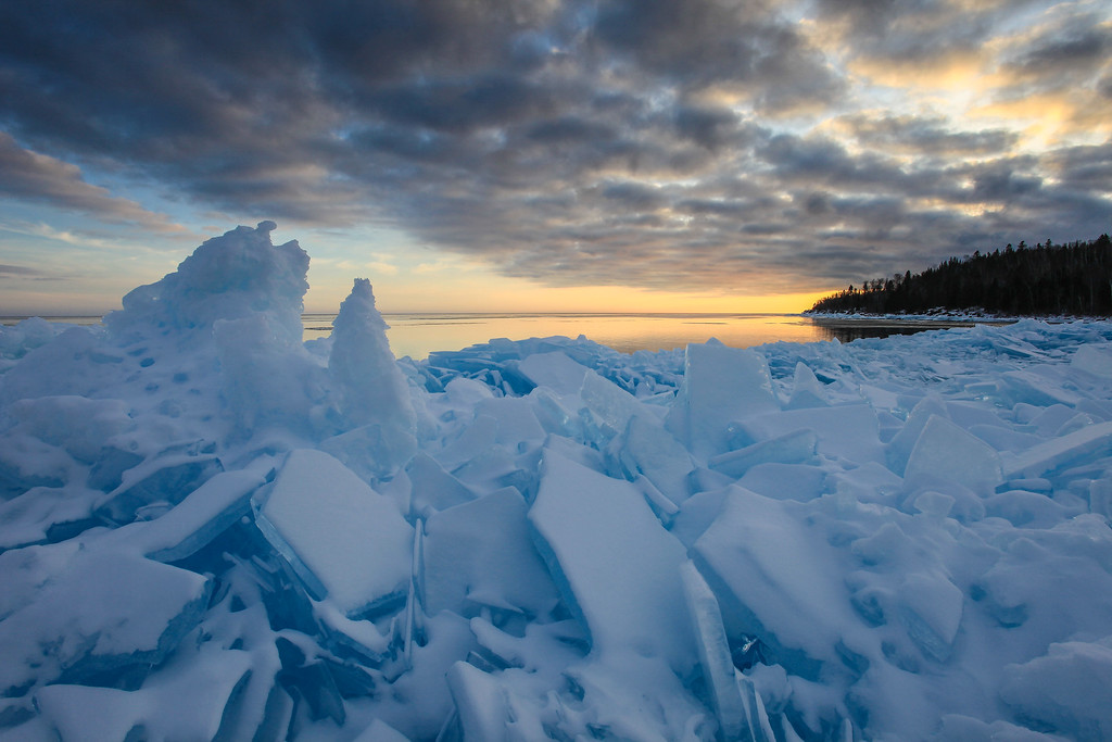 "SUPERIOR WINTER 1096<br /> <br /> ""Ice Piles at Whitecaps Bay"""