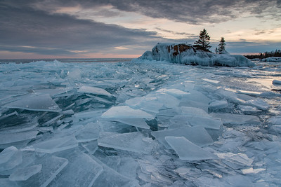 """Late March Ice at Hollow Rock"""