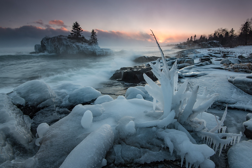"SUPERIOR WINTER 1780<br /> <br /> ""Frigid Lake Superior Sunset""<br /> <br /> Hollow Rock - Grand Portage, MN"