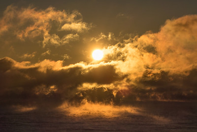 "SUPERIOR WINTER 03976  ""Steamy Sunrise""  Cold December sunrise over Wauswaugoning Bay of Lake Superior - Grand Portage, MN"