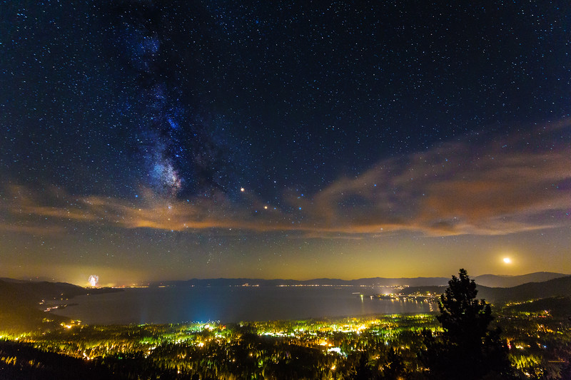 Milkyway and Fireworks over Lake Tahoe