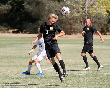 Butte College's Hannes Bjorklund headbutts the ball during a soccer game against Lake Tahoe College Tuesday September 27, 2016 in Oroville, Calif. (Emily Bertolino -- Mercury Register)
