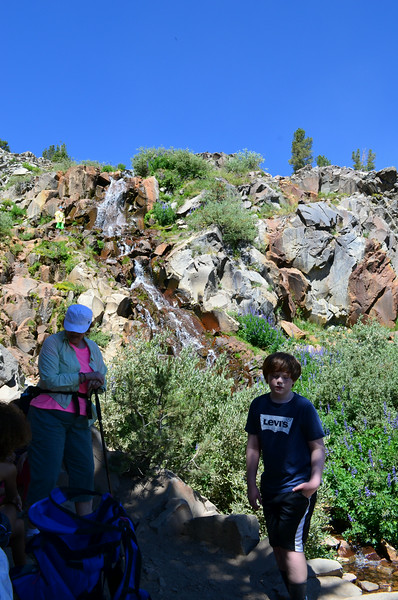 The group hiked 5 miles to a waterfall and saw nice views of the lake along the way.