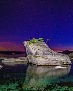 """Dreams of Night,"" Astronomical Twilight over Bonsai Rock, Lake Tahoe, Nevada"