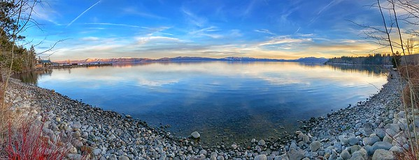 Sunset Panoramic view of Lake Tahoe from Tahoe City Beach