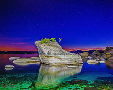 """Rocks on the Water,"" Last Light over Bonsai Rock, Lake Tahoe, Nevada"