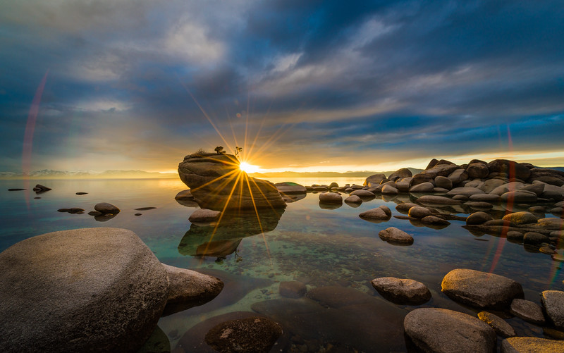 Bonsai Rock at Sunset in Lake Tahoe Nevada