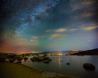 """Space and Time,"" Milky Way over Sand Harbor, Lake Tahoe Milky Way, Lake Tahoe, Nevada"