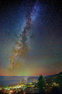 """Tahoe Night Lights,"" Lake Tahoe Milky Way, Lake Tahoe, Nevada"