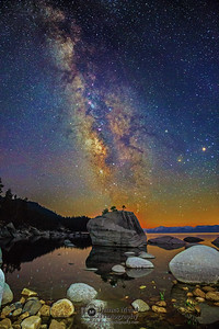 """Bonsai Warrior,"" Bonsai Rock, Mars, Saturn, Antares, the Aquariids and the Milky Way over Lake Tahoe, Lake Tahoe, Nevada"