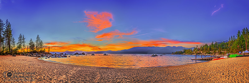 """Sun-kissed Reflections,"" Sand Harbor Sunset, Sand Harbor, Lake Tahoe, Nevada"