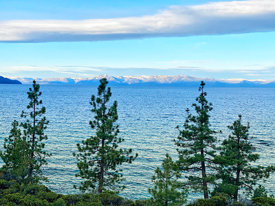 Lake Tahoe view of Lake and West shore from the East Shore