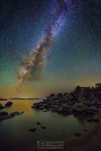 """Rocky Rest,"" Sand Harbor Milky Way, Lake Tahoe, Nevada"