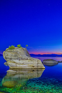 """Beautiful Silence,"" Nautical Alpenglow over Bonsai Rock, Lake Tahoe, Nevada"