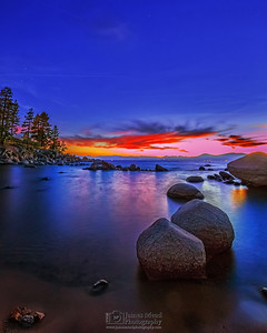 """Mystic,"" Alpenglow during Nautical Twilight over Sand Harbor, Lake Tahoe, Nevada"