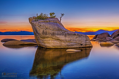 """Almost Paradise,"" Tahoe Reflections, Bonsai Rock Sunset at Dusk, Lake Tahoe, Nevada"
