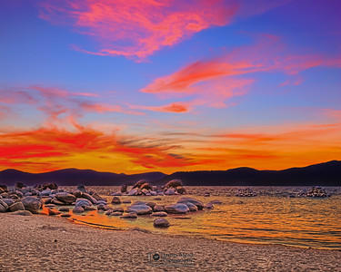 """Wave of Calm,"" Sunset over Sand Harbor, Lake Tahoe, Nevada"